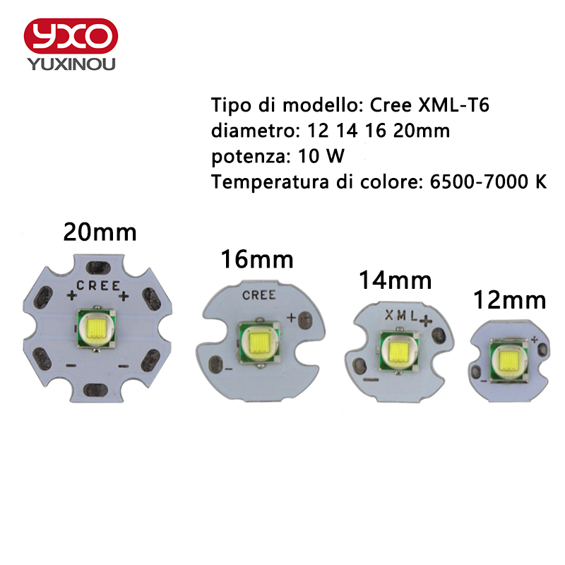 1 PCS CREE XML XM-L T6 LED U2 10W WHITE High Power LED Emitter with 12mm 14mm 16mm 20mm PCB for DIY sitemap 14 xml