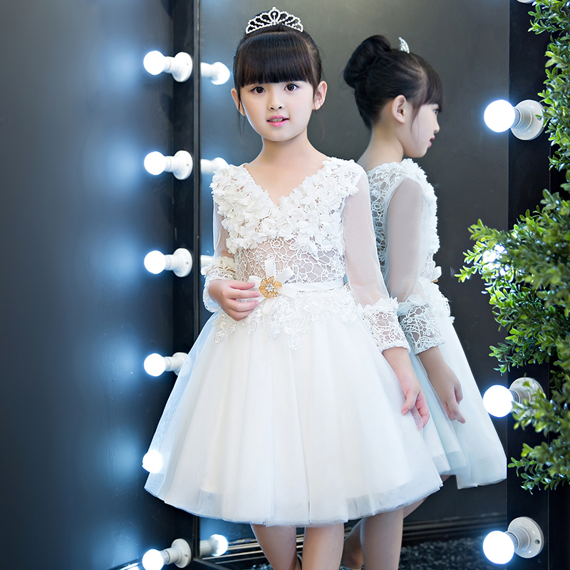 2017 New Children Girls White Color Lace Dress Kids Wedding Birthday Ball Gown Mesh Dress Pageant Costume Dress For 2~15 Years 4pcs new for ball uff bes m18mg noc80b s04g