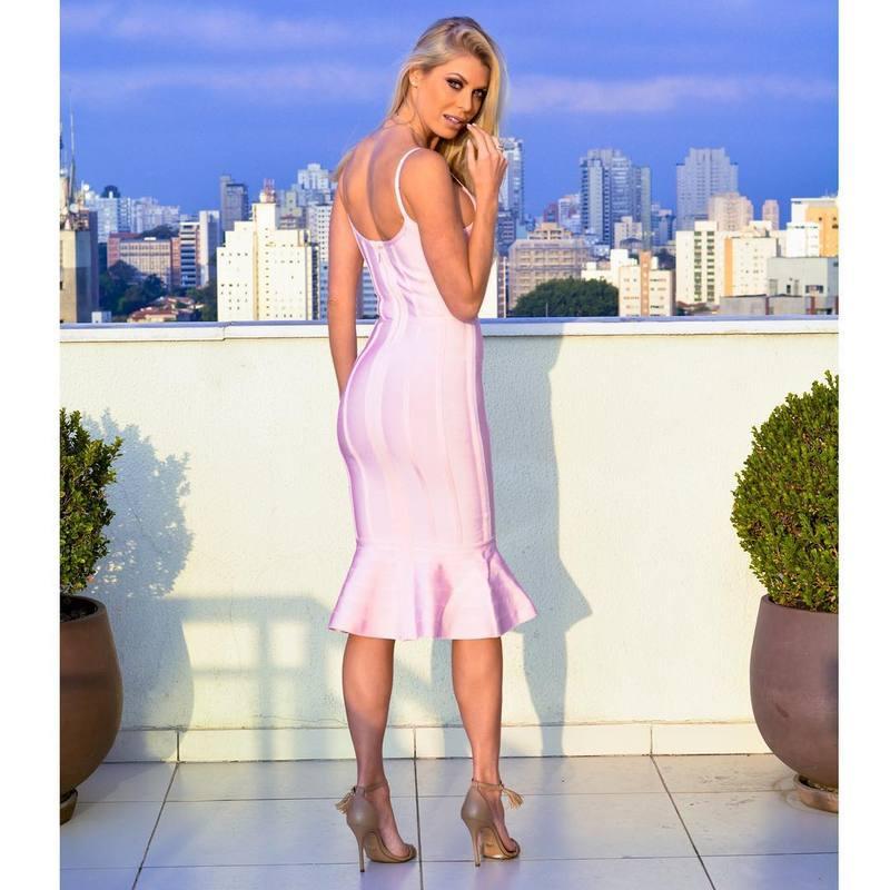Fishtail Party Genou Élégant Sexy Bandage De Dress Rose Moulante Designer Laçage D'été Femmes Cou V Rayonne Lengthtrumpet hrsCtdxQB