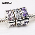 Original Solid 925 Sterling Silver Authentic Beads Fits Pandora Charm Bracelets Shining Elegance Clip Fancy Purple Pink Clear CZ