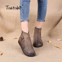 Tastabo Genuine Leather Shoe Handmade Original Retro Round Flat Boots Female Leisure Women Ankle Boots Black