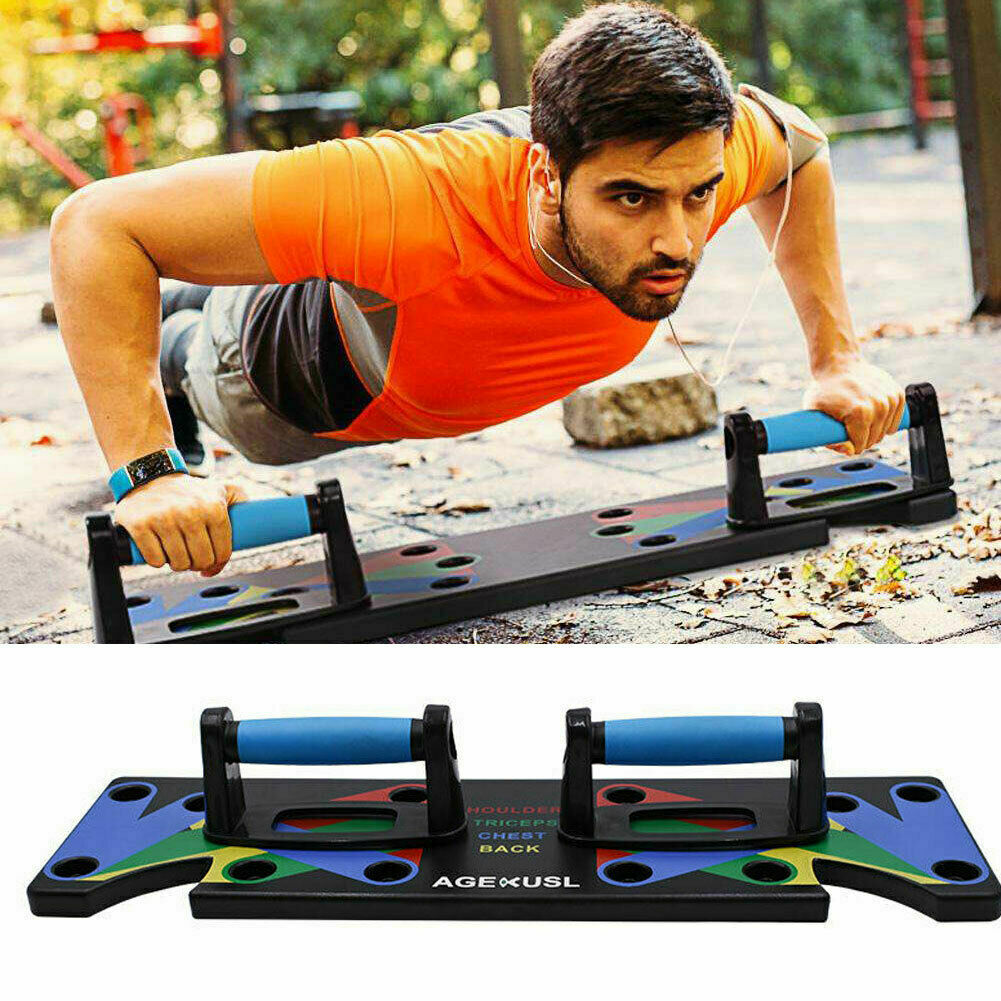 9 In1 Push Up Rack Board System Sit Up Benches Fitness Workout Train Gym Exercise Pushup Stands