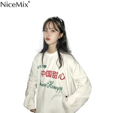 NiceMix 2019 Spring Harajuku T Shirt Women Casual Loose Tops Printed Chinese Honeyyy Tee Shirt Femme Camiseta Feminina nicemix 2019 spring harajuku t shirt women sexy tops solid long sleeve casual tee shirt femme camiseta feminina