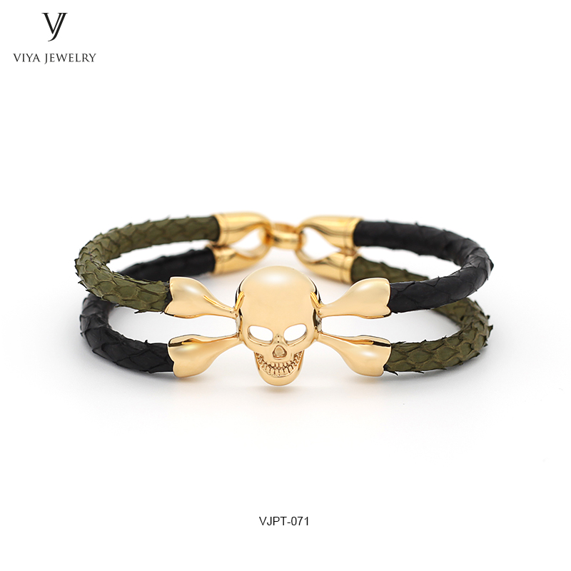 все цены на Custom Color Luxury Genuine Python Bracelet Black & Amy Green Python Leather With Gold-Color Stainless Steel Skull Men Bracelet