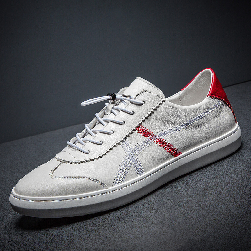 100% Genuine Leather Shoes Men White Sneakers Mens Casual Shoes Male Footwear Cow Leather Black White Shoes Soft KA1473