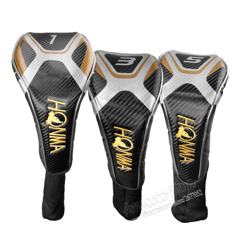New Mens HONMA Golf wood headcover high quality 1 3 5 Golf clubs headcover black colors HONMA Golf wood head cover Free shipping
