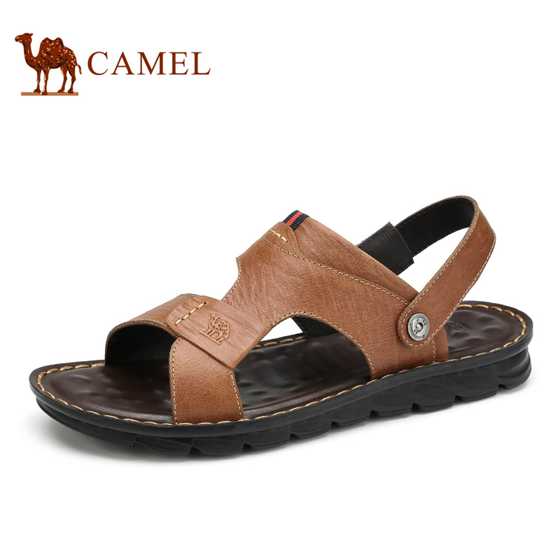 Camel 2018 Summer New Matte Cow Leather Sandals Cool Comfortable Antiskid Daily Casual Two Ways Exposed Toe Sandals A622287672