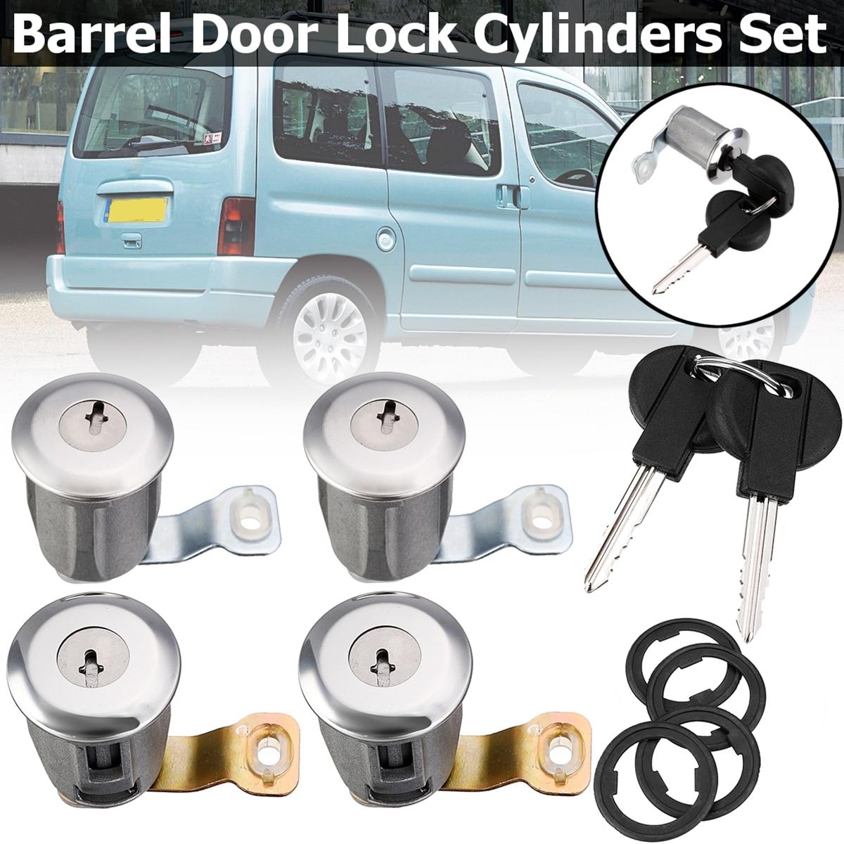 4Pcs Barrel Door Lock Cylinders Two Keys For Peugeot Partner Citr0en Xsara 1996 1997 1998-2007 252522  9170.G3  Locks & Hardware
