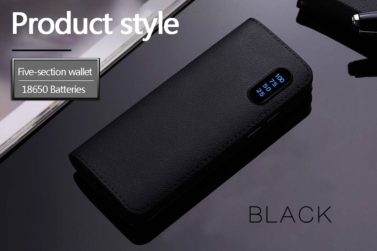powerbank 10000 Mah leather double USB mobile power LED flashlight wallet power bank charging treasure For xiaomi Hot sales