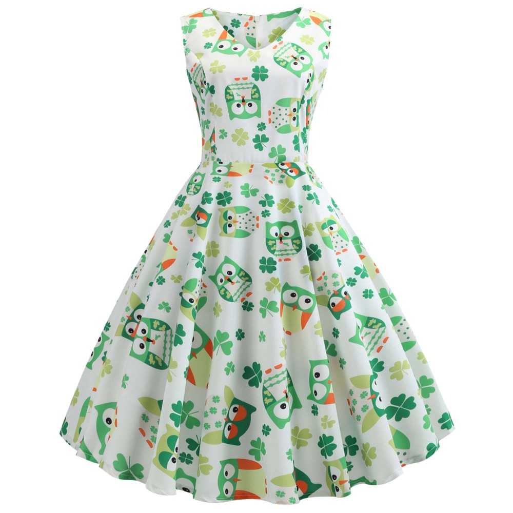 4c3dbc98391d3 Feitong St Patrick's Day Long Maxi Dress Evening Party Prom Swing ...