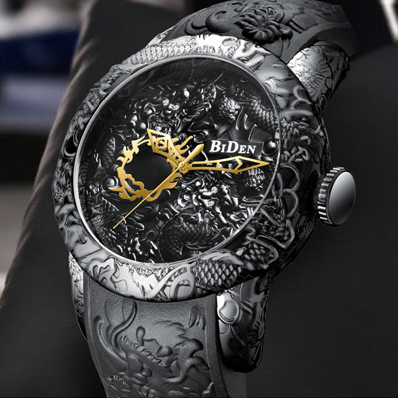 BIDEN Men Watches 3D Sculpture Dragon Creative Men Watches Top Brand Luxury Quartz Wrist Watch Male Clock Relogio Masculino-0129BIDEN Men Watches 3D Sculpture Dragon Creative Men Watches Top Brand Luxury Quartz Wrist Watch Male Clock Relogio Masculino-0129