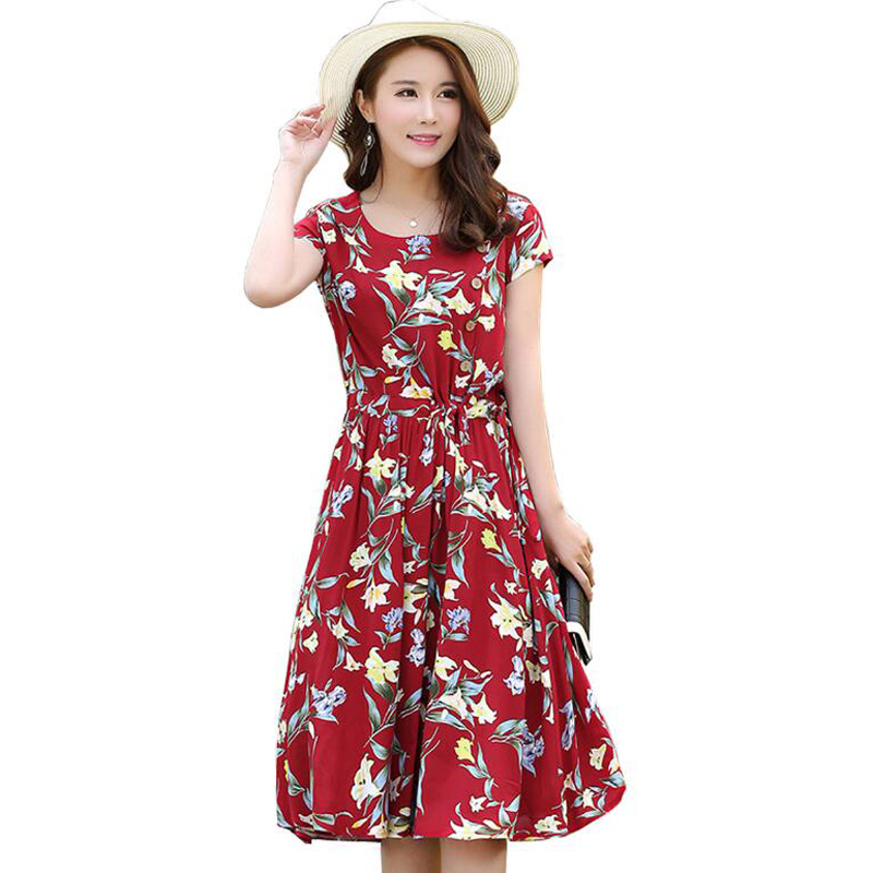 Middle-aged Women's Summer dress O-neck Print Short sleeve L