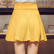Danjeaner M-5XL 10 Colors Women's High Waist Pleated Skirts Pants 2018 Summer  Super Elastic Mini Skirts Faldas Mujer Saias