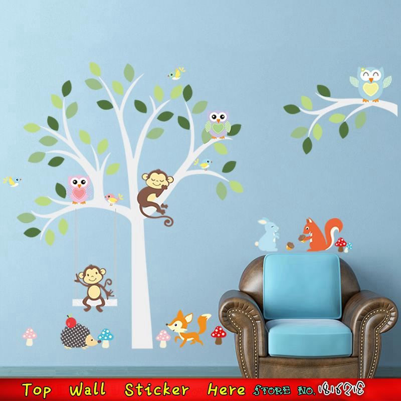 animales lindos de la historieta del rbol etiqueta de la pared para el cuarto de nios beb dormitorio calcomanas decoracin m