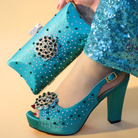 2019 New Teal Italian Shoes with Matching Bags for Wedding Women Shoes and Bag to Match for Parties Nigerian Shoes and Bag sets