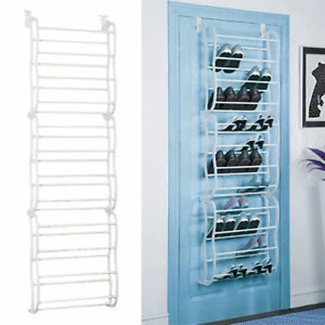 4 Layers 12 Pairs Of Shoe Rack Pp Plastic Spray Iron Over The Door Hanging Shoes