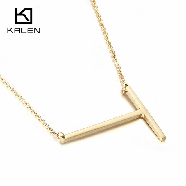 kalen cheap letter t necklace jewelry stainless steel fashion gold color capital letter t pendant necklaces