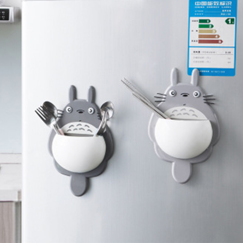 Creative Plastic Cute Cartoon Totoro Style Rack Organizer Home Kitchen Bathroom Suction Cup Toothbrush Debris Rack Organizer