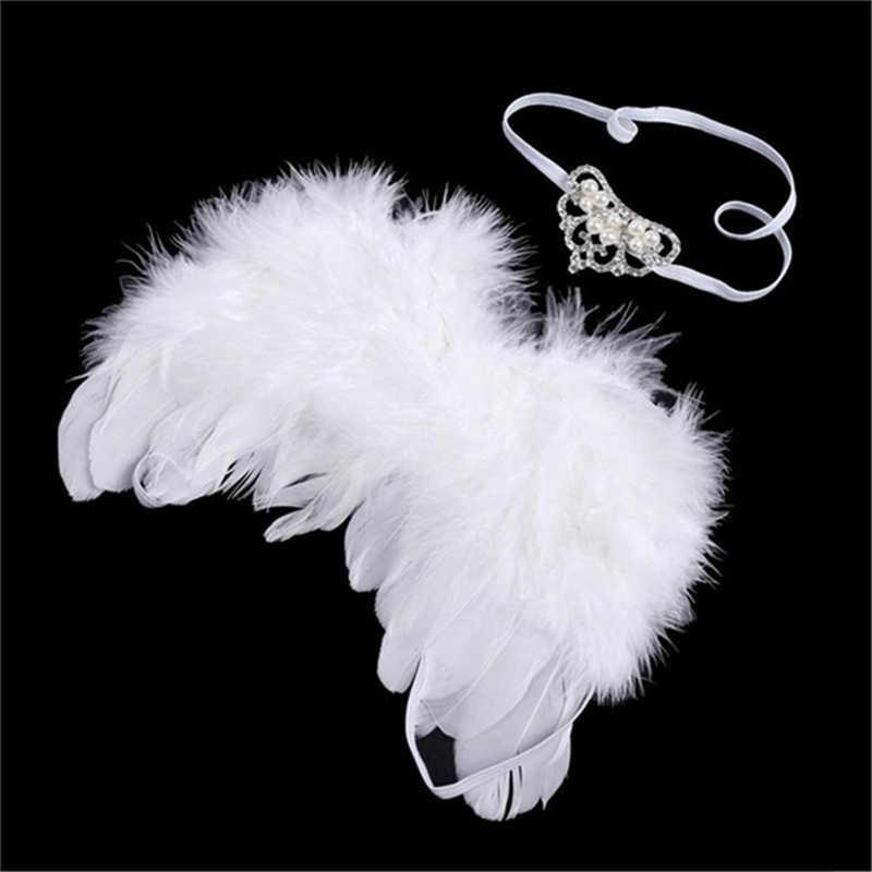 בעבודת יד גריי נוצת מלאך כנפי יילוד צילום Props פרח בגימור סט Vetement Fille Bebe תינוקות אביזרי צילום