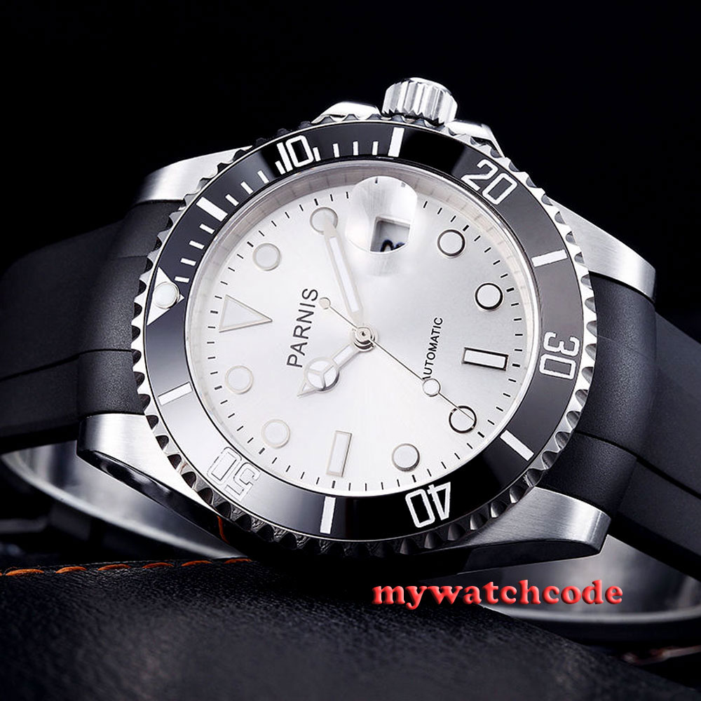 40mm Parnis white dial Sapphire glass 21 jewel Miyota automatic mens watch P462 42mm parnis withe dial sapphire glass miyota 9100 automatic mens watch 666b