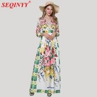 Sicily Fresh Sweet XXXL Women S Dress 2018 Spring High End 3 4 Sleeve Sexy V