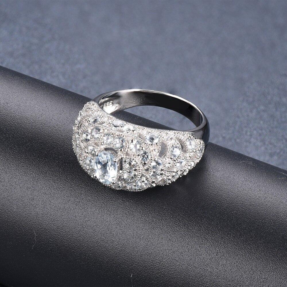 Anillo de boda de plata Hutang piedra preciosa Natural aguamarina sólida piedra fina de Ley 925 joyería de boda para mujer regalo nuevo-in Anillos from Joyería y accesorios    3