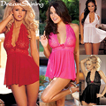DreamShining Latest Europe America Large Size Women's Sexy Lingerie Ladies Perspective Gauze Nightgown Obese Women Sleepwear