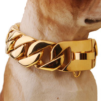 Exaggerated Extra Coarse 316L Stainless Steel Golden Cuban Gold Pet Dog Chain Neckaces Collars Choke