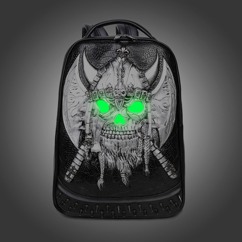 3D Fashion Women And Men Backpack Newest Cool Black PU Leather Fluorescence Male Backpack Female shoulder bag Travel school bags 2016 newest wave fashion backpack women casual dackpacks backpack school leisure travel school bags women s shoulder bags bolsos