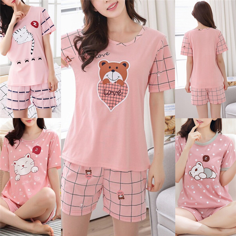 M-2XL 2018 New Summer Young Girl Short Sleeve Cotton Pajamas For Women Cute Nightshirt Casual Home Service Short Sleepwear