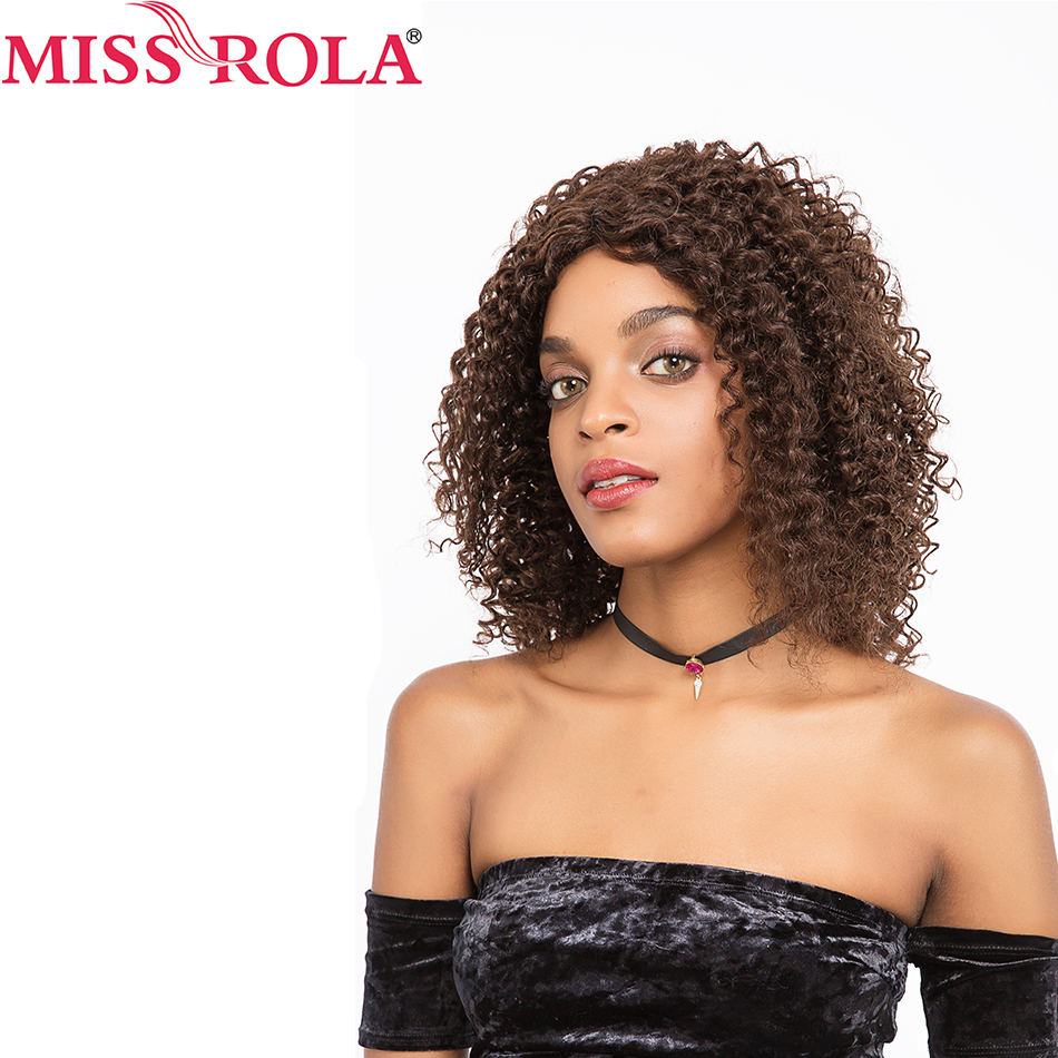 Miss Rola Hair Pre Colored Wigs 2 4Color Brazilian Kinky Curly Short Hair Wigs for Black