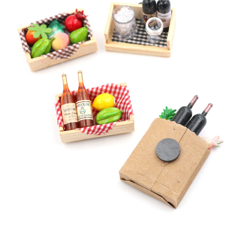 1:12 Mini Wine Bottles Fruit Box Candy Food Toy Match Collectible Gift Miniature Doll House Accessories