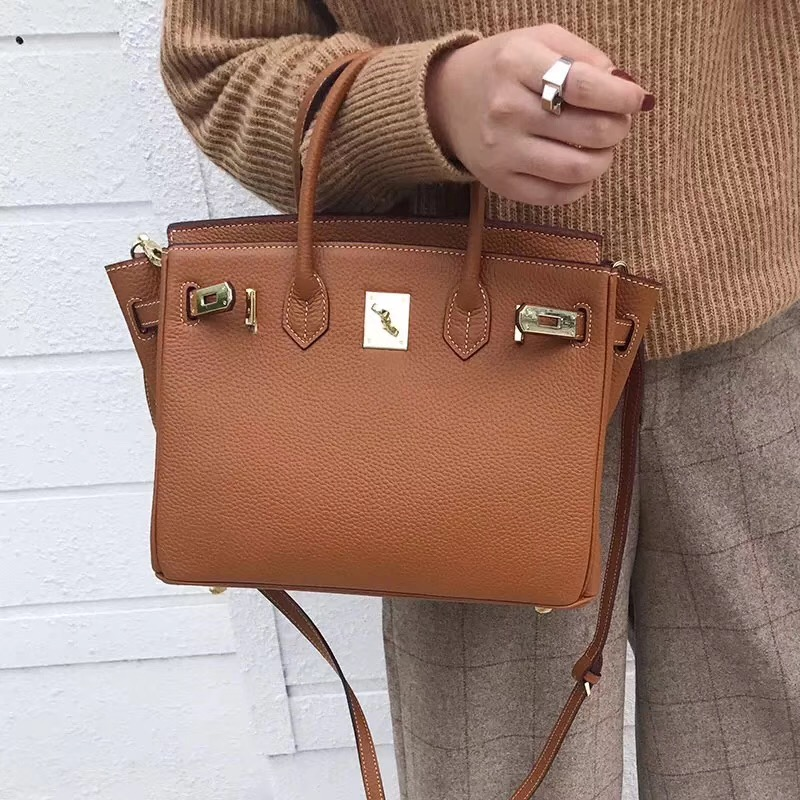 [Hely Coptar] 25CM Genuine Leather Luxury Designer Women Bags Brown Top Handle Bags Cowhide Classic Style For Business Famous