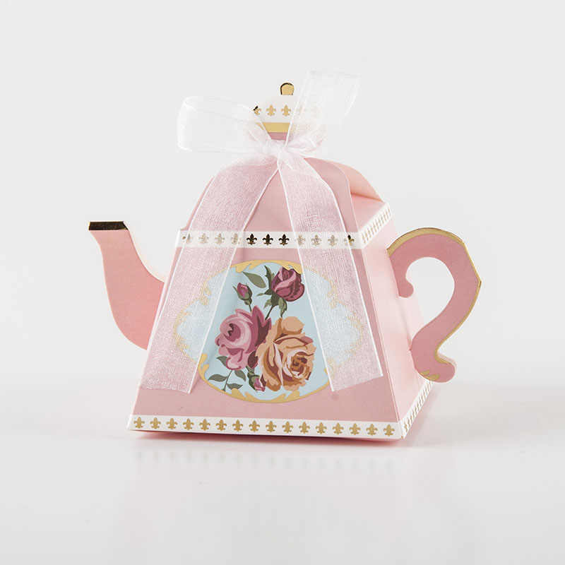 20/50pcs/lot Teapot design Dragees Box Candy Gift Boxes Packaging Cardboard Box for Birthday Wedding Event Party