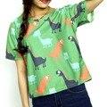 2017 Women's Fashion T-shirt Top Cute Cartoon Small Dinosaur Printed Loose plus sizeS-XL Short Sleeve  Harajuku Ladies Shirt Tee