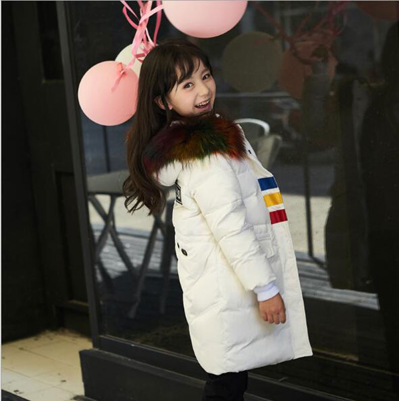 2017 New Winter Color fur collar Coats For Girls Boy Parkas Hooded Warm Children Down Jackets Clothes Long Sleeve Kids Outerwear fashion girl thicken snowsuit winter jackets for girls children down coats outerwear warm hooded clothes big kids clothing gh236