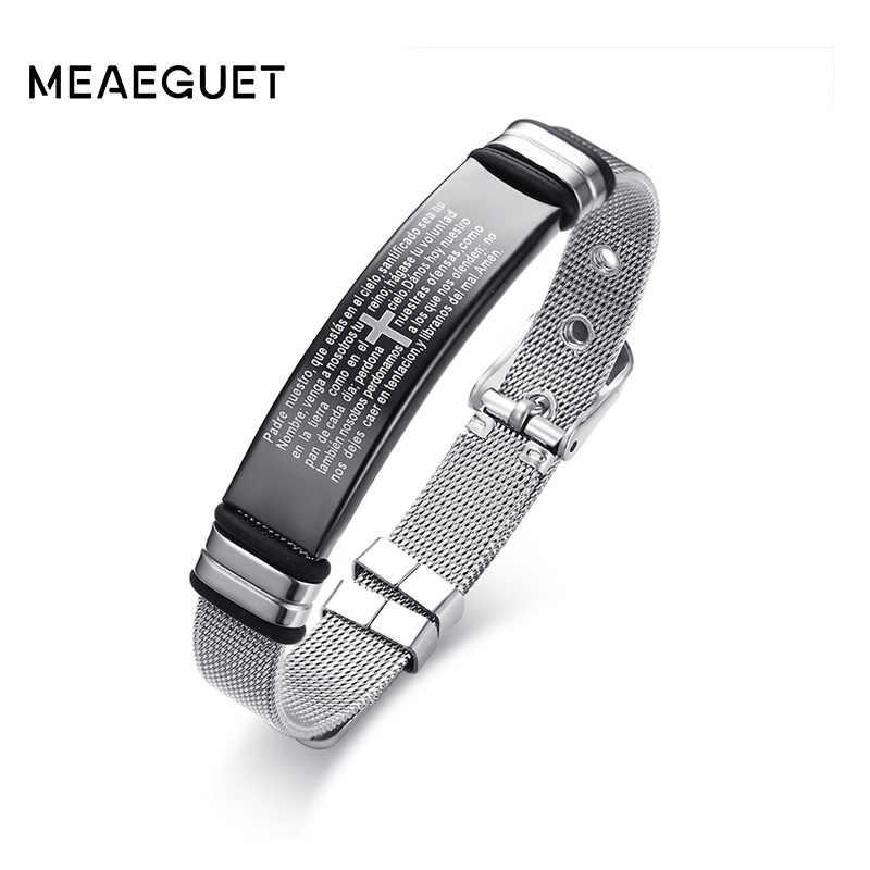 Meaeguet нержавеющая сталь крест библейские браслет с подвесками для мужчин