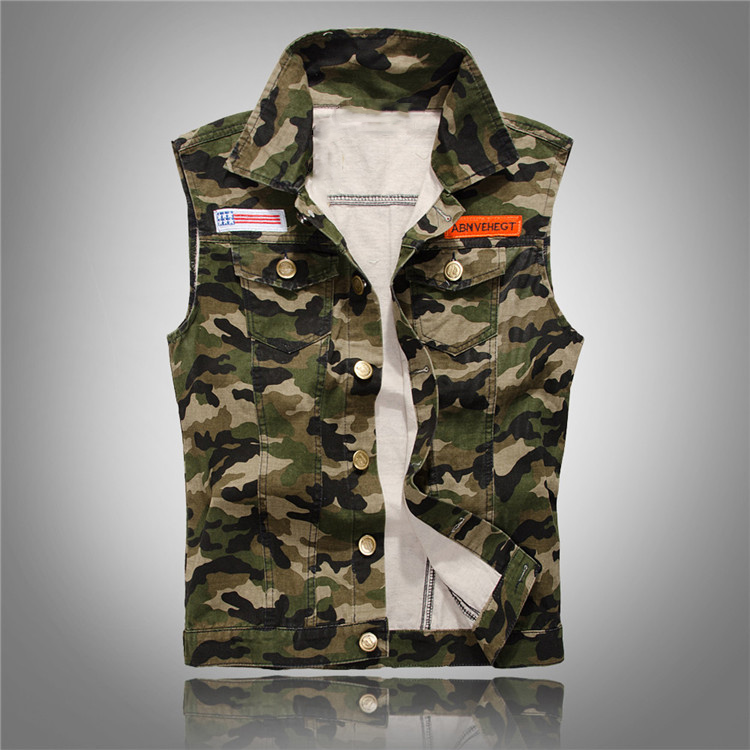 2017 Summer Korean Fashion Camo Denim Vest Slim Fit Camouflage Military Style Casual Jea ...
