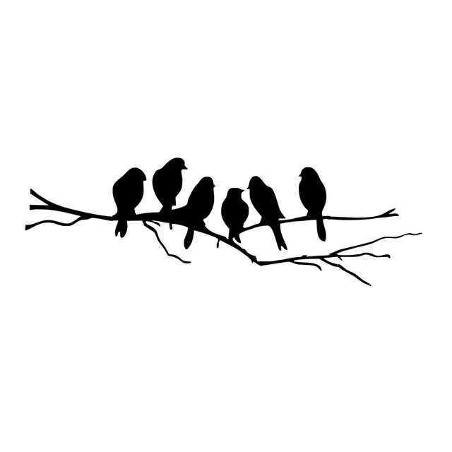 18.8cm*5.9cm 6 Birds On The Tree Branch Fashion Stickers