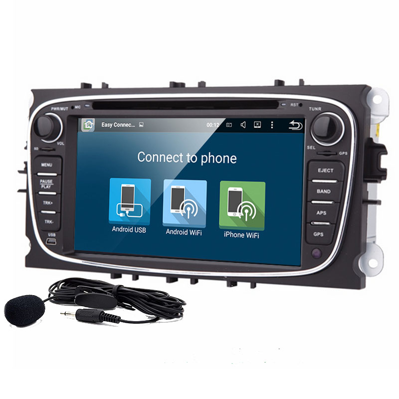 7 ''Quad Core Android 9.0 <font><b>2</b></font> <font><b>DIN</b></font> Auto DVD Player GPS Für <font><b>Ford</b></font> Mondeo <font><b>Focus</b></font> S-max 1080P video Bluetooth Autoradio Wifi USB Audio image