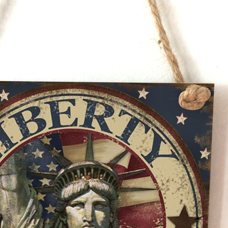 Vintage Wooden Hanging Plaque Liberty Sign Board Wall Door Home Party Decor
