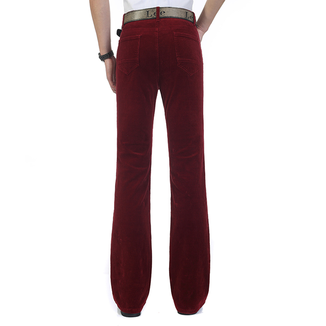 Free Shipping 2019 Men's Spring Autumn New Corduroy Boot Cut Pants Male Mid Waist Business casual flares Corduroy Trousers 27-38 5