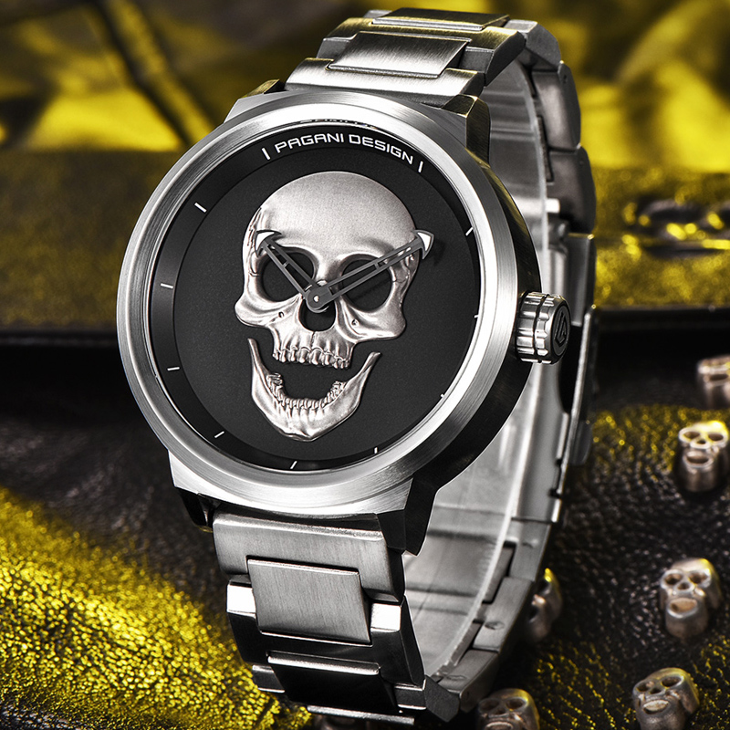 PAGANI DESIGN Punk 3D Skull Personality Retro Fashion Men's Watches Large Dial Design Waterproof Quartz Watch relogio masculino цена