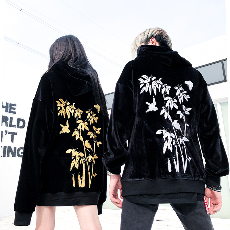 2018new fall hiphop hiphop jacket women's golden fleece embroidery hooded with the same color department hoodie