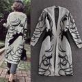 Espesar Largo Abrigo Elegante Impreso Jumper Prendas de Punto Suéter de otoño invierno de las nuevas mujeres ropa Señoras Mezcla de Punto Cardigans