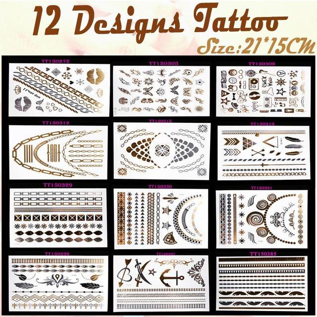 12pcs Diy Party Decoration Temporary Tattoo Sticker Gold Flash