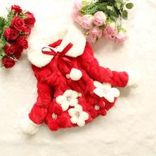 Nouvelles Filles D'hiver Manteau Fleur En Peluche Lourde Veste de Coton-Rembourré vêtements Enfants Garder Au Chaud Épais Outwear Enfants Vêtements