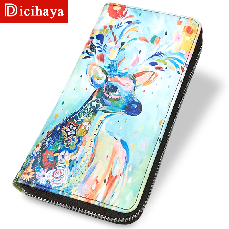 DICIHAYA New Women Wallets Leather Animal Wallet Female Purse Long Coin Purses Holders Ladies Wallet Womens Wallets And Purses