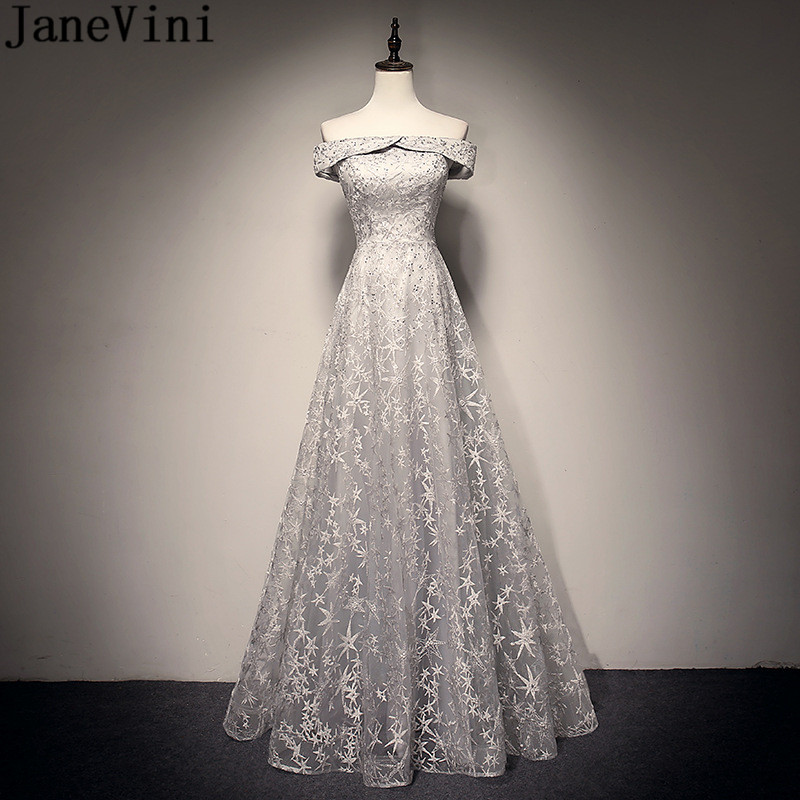 JaneVini Off Shoulder Gray Long Prom Dresses 2019 Beaded Lace Elegant Tulle Women Formal Dress Party Wear Gowns Galajurken Lang