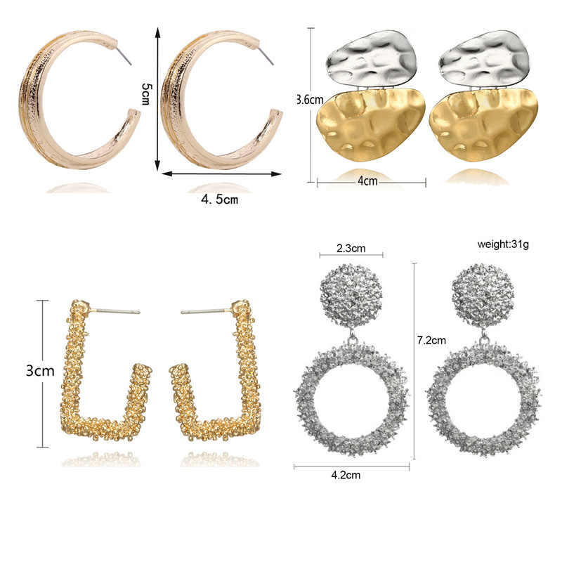 ZA Metal Big Drop Earrings for Women Gold Silver Color Earrings Square Vintage Brincos Statement Earings Fashion Jewelry